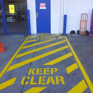 Keep Clear Safety Hatching And Wording At Fire Door
