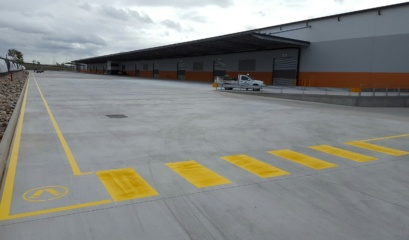 Warehouse With Long Walkway And Pedestrian Crossing Line Marking